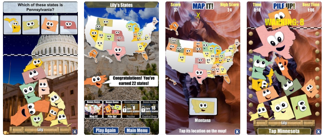 Stack the States app screenshot