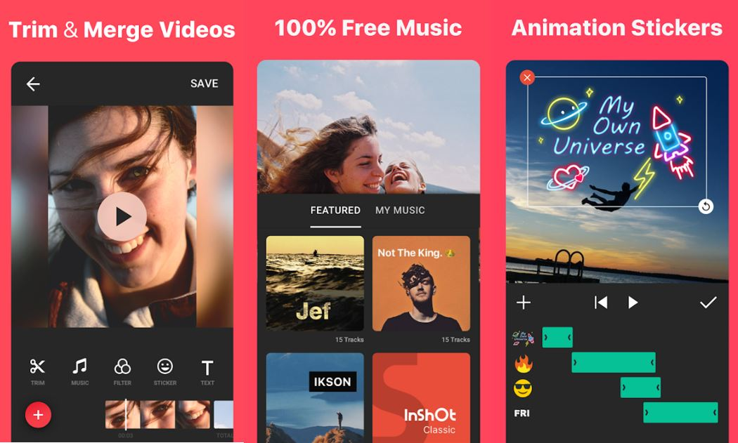 InShot Mobile App screen